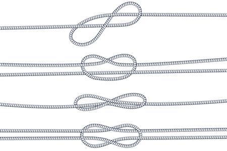 Rope knots vector illustration set Stock Illustratie