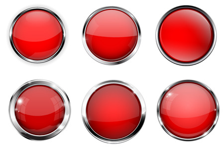 Glass 3d buttons. Red round icons with chrome frame. Vector illustration isolated on white background