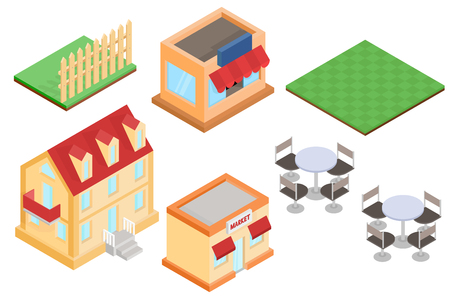 Isometric buildings and outdoor design elements illustration.