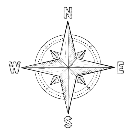 Compass rose with cardinal points hand drawn sketch illustration.