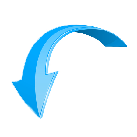 Blue down 3d arrow. Shiny curved icon isolated on white background. Vector illustration