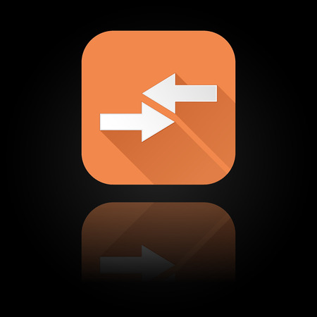 Arrows icon. Orange sign with reflection on black background. Right and left symbol. Vector illustration