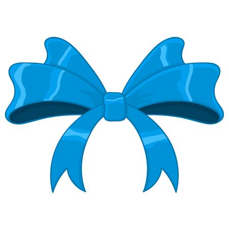 Blue silky ribbon bow