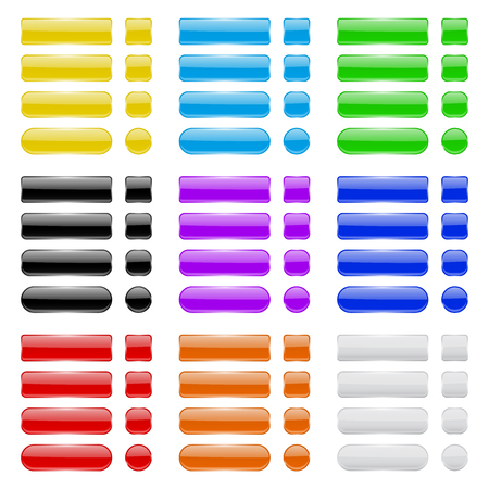 Glass buttons. Collection of colored menu interface 3d shiny icons Stock Illustratie