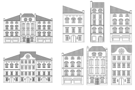 Houses. Old european city street with buildings. Outline drawing Stock Illustratie