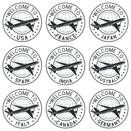 Welcome stamps with plane. Black set