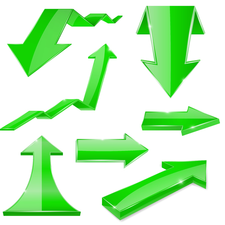 Green 3d arrows. Shiny icons