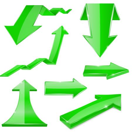Green 3d arrows. Shiny icons
