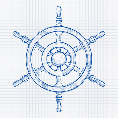 Steering wheel. Blue hand drawn sketch on lined paper background Stock Illustratie