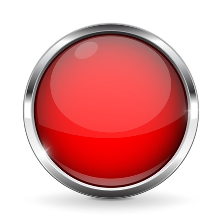 Red button with chrome frame. Round glass shiny 3d icon. Vector illustration isolated on white background
