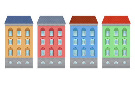 Flat style house. Colored old european buildings. Vector illustration isolated on white background
