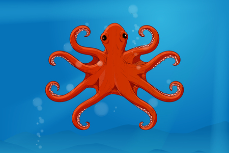 Red octopus in blue water. Hand drawn sketch. Vector illustration
