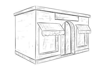 Store front. Hand drawn sketch. Vector illustration isolated on white background