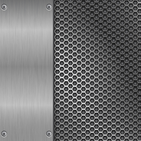 Metal brushed texture with perforation Illustration