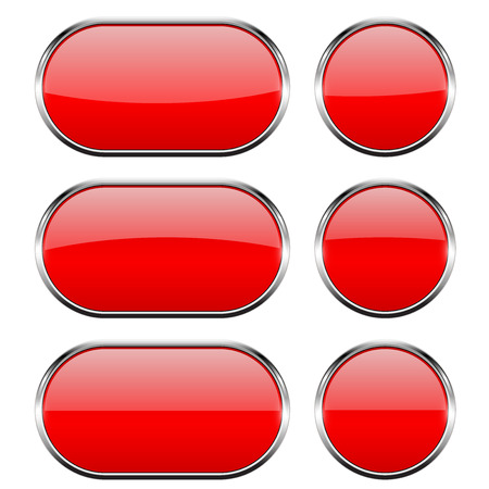 Red glass buttons with chrome frame. 3d icons