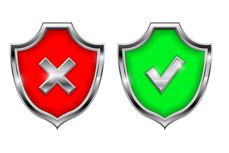 Shield signs. Security alert symbols. Accept and Decline 3d elements  イラスト・ベクター素材