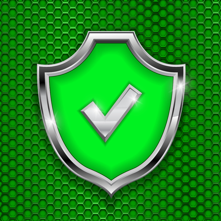 Green shield sign. Accept 3d symbol on green perforated background
