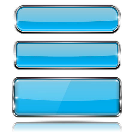 Oval and rectangle blue 3d buttons with chrome frame