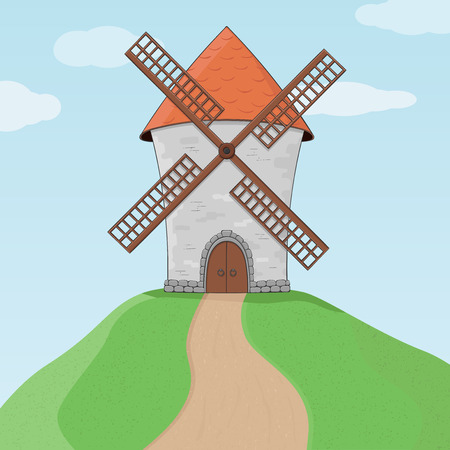 Windmill on a hill and blue sky. Colored doodle