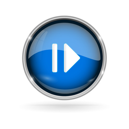 Blue glass button with chrome frame. Play and Pause 3d sign