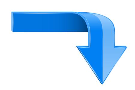 Blue bent arrow. Down 3d symbol