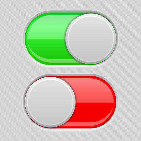 On and Off toggle switch buttons. Red and green 3d icons