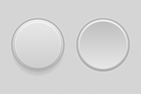 Pushed and normal gray round interface buttons