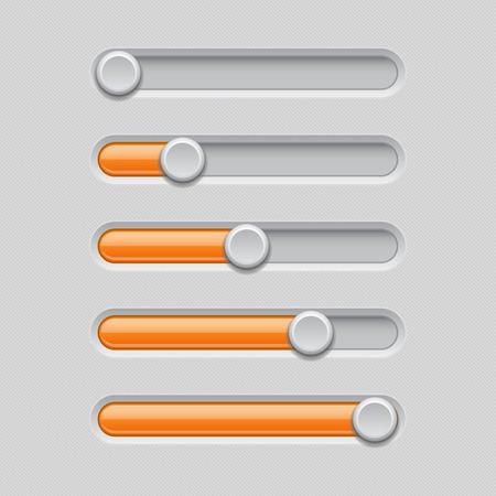 Slider bars. Gray orange volume level console