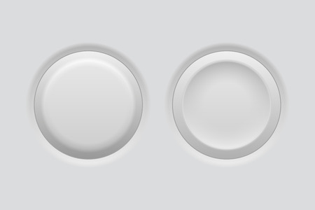 Pushed and normal gray interface buttons. Vector 3d illustration