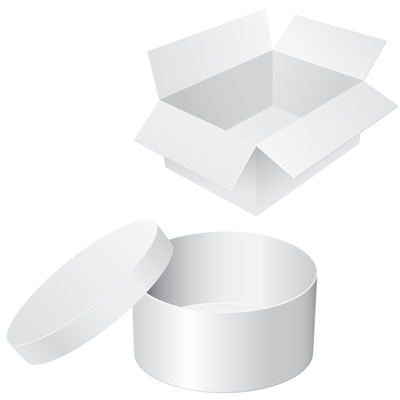 Round and square white boxes. Blank containers Illustration