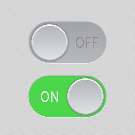 On and Off green toggle switch slider buttons Иллюстрация
