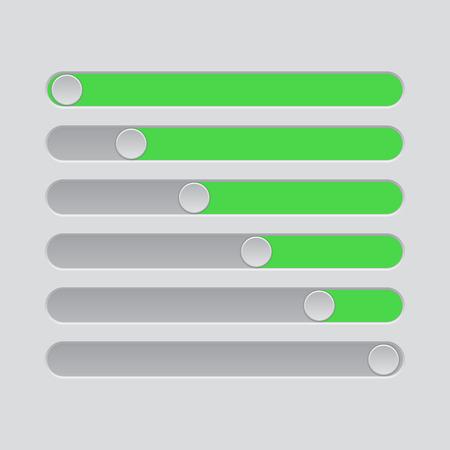 Slider bars. Gray green volume level console