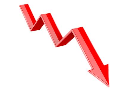 Red 3d down arrow. Financial graph