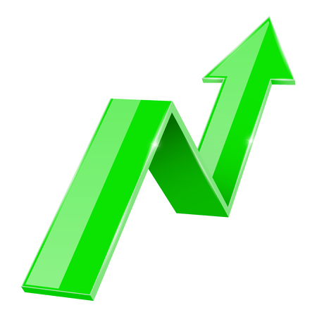 Green 3d up arrow. Financial graph Illustration