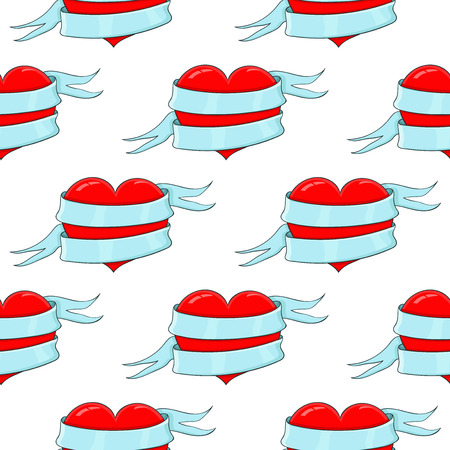 Red heart with blue ribbon. Colored doodle as seamless pattern