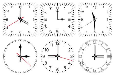 Clock face. Round and square set Ilustracje wektorowe