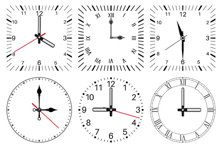 Clock face. Round and square set