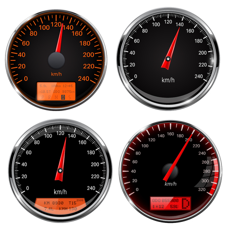 Speedometers and tachometers. Car dashboard black gauges with chrome frame. Vector 3d illustration isolated on white background
