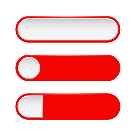Red menu buttons. 3d oval web icons. Vector illustration isolated on white background