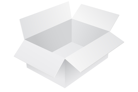 White cardboard box. Empty open container. Vector 3d illustration isolated on white background