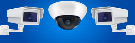 Security camera set. Wall and ceiling mount CCTV surveillance system on blue background. Vector 3d illustration Illustration