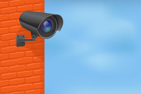 Black security camera on red brick wall. With blue sky. Vector 3d illustration Standard-Bild - 112129953