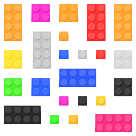 Construction toy bricks. Colored building blocks set. Vector illustration isolated on white background Vettoriali