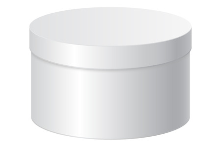Round gift box. White blank package. Vector 3d illustration isolated on white background