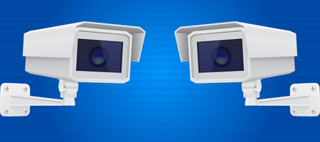 Security camera set. CCTV surveillance system on blue background. Vector 3d illustration