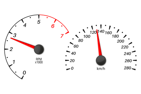 Car dashboard with speedometer and tachometer scales. Vector illustration isolated on white backround
