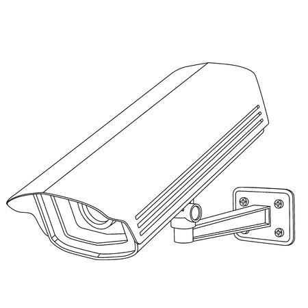 Caméra de sécurité CCTV. Dessin au trait. Illustration vectorielle isolée sur fond blanc