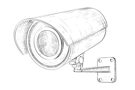 Caméra de vidéosurveillance de sécurité. Croquis dessiné à la main. Illustration vectorielle isolée sur fond blanc