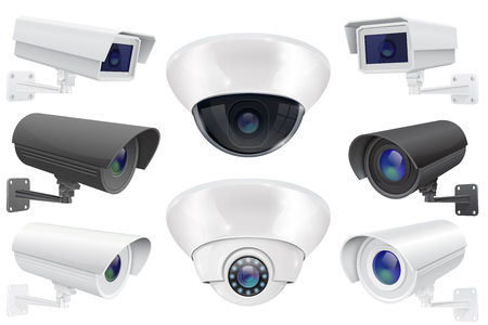 CCTV surveillance system. Collection of security camera. Vector 3d illustration isolated on white background