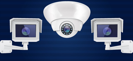 Security camera set. Wall and ceiling mount CCTV surveillance system on blue background. Front view. Vector 3d illustration